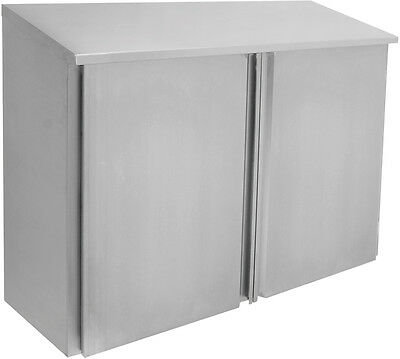 ACE CWD-1548H 15x48x35 Stainless Steel Slope Top Wall Cabinet w/ 2 Hinged Doors