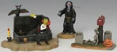 Graveyard Shift Set Of 3 #32775 Lemax Spooky Town Collection Rare