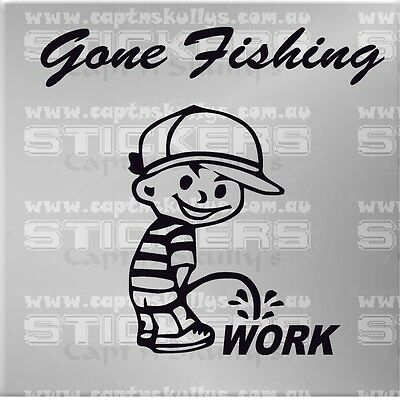 GONE FISHING DECAL 220mmx210mm 15 COLOURS TO CHOOSE MPN 966