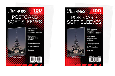 (200 Count) Ultra Pro Postcard Sleeves Archival Safe (2 Packs) Acid Free No PVC