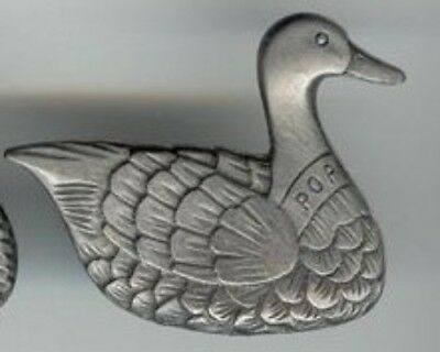 "1 VINTAGE PEWTER ""POP"" FATHER DUCK 41x33mm. MAGNET S487"