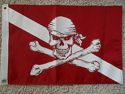 """12""""x18"""" Pirate Diver Down Boat/yacht Flag Double Sided Nylon"""