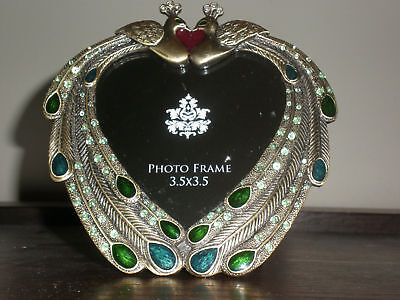 Peacock Jeweled Photo Picture Frame 3.5X3.5 New No Box
