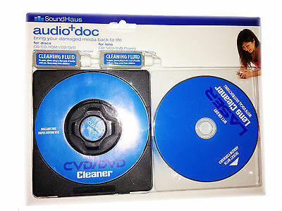 CD DVD Cleaner & Wet/Dry lens Cleaner + 2 xCleaning Fluid For XBOX PS3