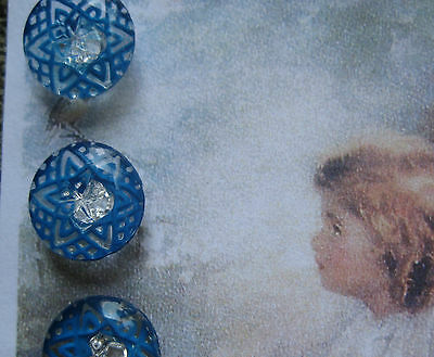 """Set of 4 Vintage 1/2"""" Lapis Blue  Crystal Star Line Glass Buttons~ new/old stock"""