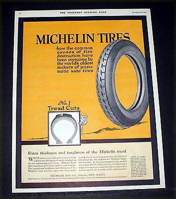 1921 Old Magazine Print Ad, Michelin Tires, Extra Tread Thickness And Toughness!