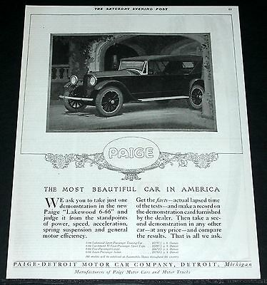 1921 Old Magazine Print Ad, Paige Lakewood 6-66, Most Beautiful Car In America!