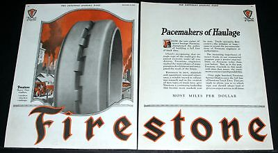 1922 Old Magazine Print Ad, Firestone Dual Truck Tires, Pacemakers Of Haulage!
