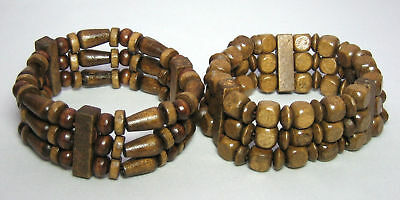 2 Brand New Wooden Beaded Ethnic, Surf  Style Bracelets