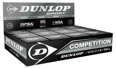 Dunlop Competition Squash Balls SINGLE YELLOW Dot 12 Pack | WSA Official Ball