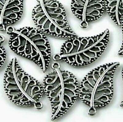 20 Silver Pewter Leaves Charm Beads 18x10m~ Lead-Free ~