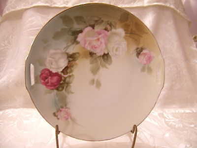 R S GERMANY PINK WHITE CABBAGE ROSE CAKE PLATE