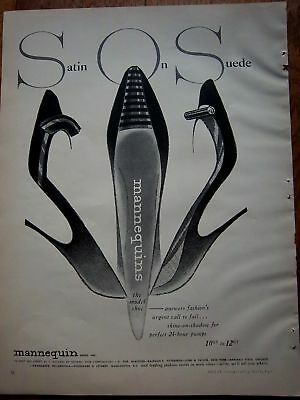 1956 Mannequin Women's Shoes SOS Satin on Suede Ad