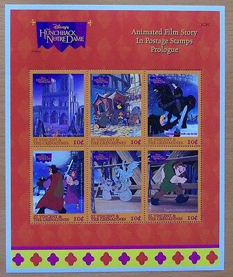 3  X Disney Hunchback Notre Dame 6  Mint Stamp Sheet.