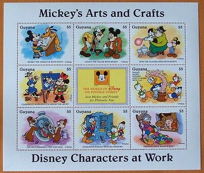 3 X Disney- Mickey's Arts & Crafts -9 Stamp Mint Sheet.