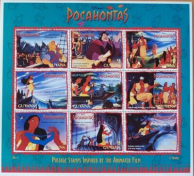 3 X Disney- Pocahontas -9 Stamp Mint Sheet.