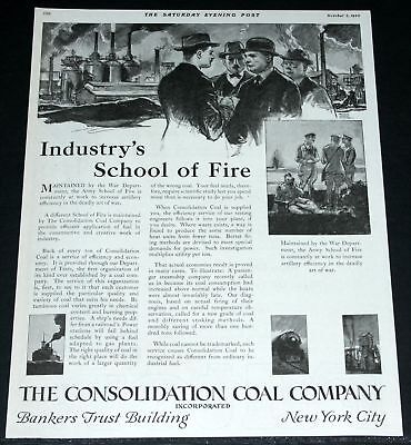 1920 Old Magazine Print Ad, Consolidated Coal, School Of Fire!