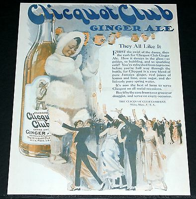 1920 Old Magazine Print Ad, Clicquot Ginger Ale, They All Like It, Eskimo Art!