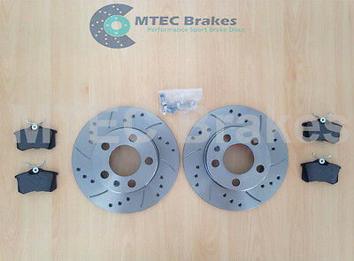 MK4 Golf Drilled Grooved Rear 232mm Solid Discs & Pads