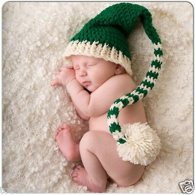 Crochet Baby Luck Of The Irish Long Tail Elf Hat - Kelly Green Longtail Elf Hat