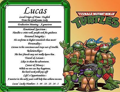 TMNT 1 Personalized First Name Meaning Room Wall Print