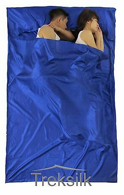 TREKSILK Double ROYAL BLUE Sleep Sack Silk Sleeping Bag Hostel Liner Travel