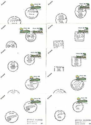 OLYMPICS: SET OF 10 POSTMARKS on  cards - ITALY 1987