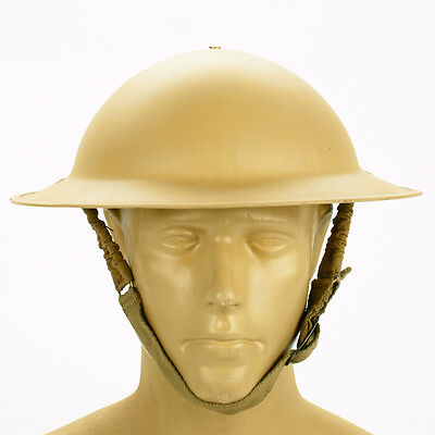 Original WWII British Brodie Steel Helmet in Desert Tan- WW2 Dated (Desert Rats)