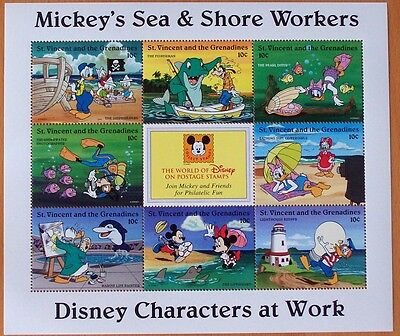 3X Disney Mickey's Sea & Shore Worker Stamp Mint Sheet.