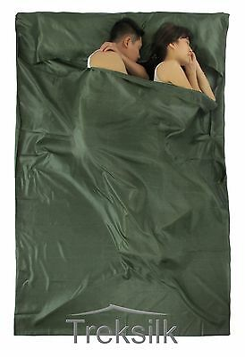 TREKSILK Double DARK GREEN Sleep Sack Silk Sleeping Bag Liner Army Camo Hunting