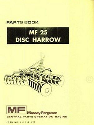 MASSEY FERGUSON MF 25 MF25 Disc Harrow Parts Manual