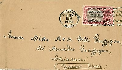 INDIA - POSTAL HISTORY: COVER to Italy - MEDICINE