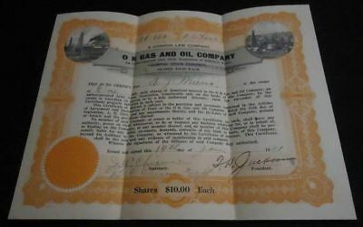 1921 Vintage Stock Certificate O K GAS AND OIL COMPANY