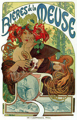 French Ad POSTER. Beer of the Meuse Decorative Art.Interior Design.1855