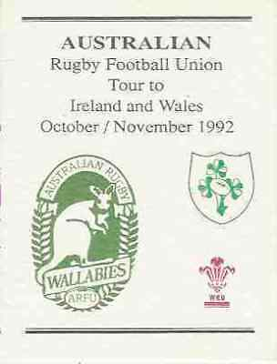 Australia To Ireland And Wales 1992 Players Itinerary