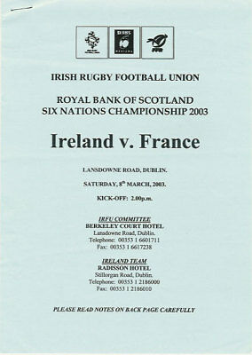 IRELAND v FRANCE 8 MAR 2003 RUGBY PLAYERS ITINERARY