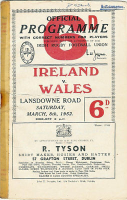 IRELAND v WALES 8 Mar 1952 RUGBY PROGRAMME - GRAND SLAM WALES