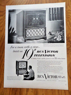 "1951 RCA Victor TV Television Ad 19"" Hillsdale"