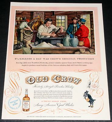 1952 Old Magazine Print Ad, Old Crow Whiskey, American Great, Distillery Art!