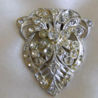 Antique Vintage ART DECO  Clear Rhinestone Silver DRESS CLIP Brooch Pin