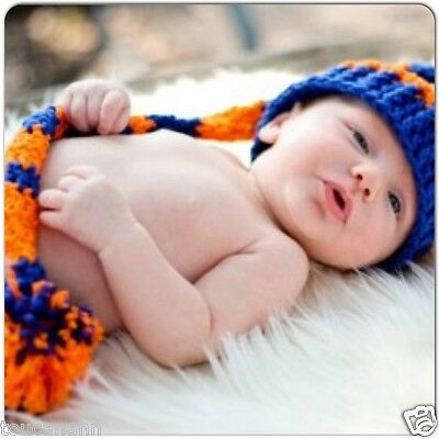 Crochet Baby Ny Mets Long Tail Elf Hat - Photo Prop