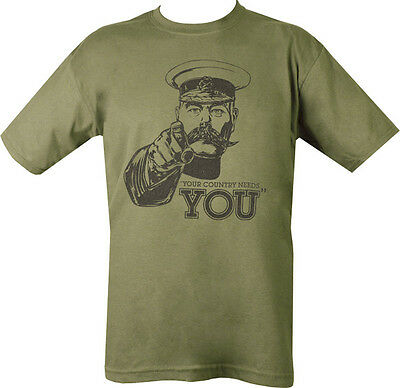 Military YOUR COUNTRY NEEDS YOU T Shirt Olive Green SAS