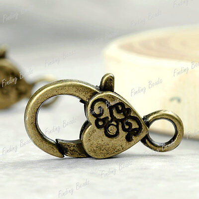 10pcs Heart Lobster Claw Clasp antique Bronze TS4284-4