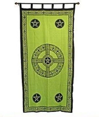 Curtain New Celtic Cross Pentacle Emerald Green Black Print 44 x 88 inches