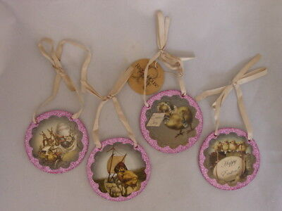 Easter Disk Ornaments Vintage Style Prints Pink 4pc NEW