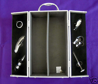 Wine Bottle Case - Double - Aluminium, Felt & Foam Lined.