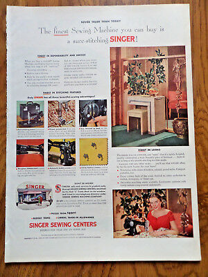 1952 Vintage Singer Sewing Machine Ad Finest