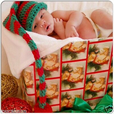 Crochet Baby Green And Red Long Tail Elf Hat - Christmas Longtail Photo Prop