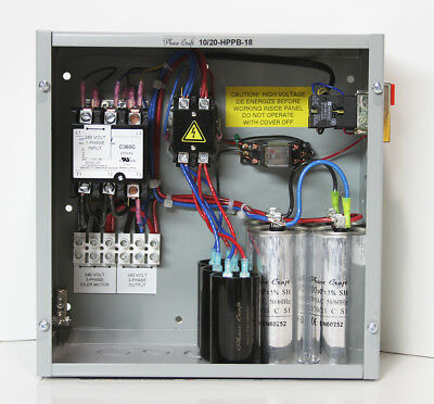 20 HP manual start ROTARY PHASE CONVERTER CONTROL PANEL