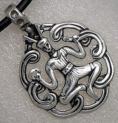 Celtic Jewelry Cernunos pendant horned god of polytheism fertility from Pewter